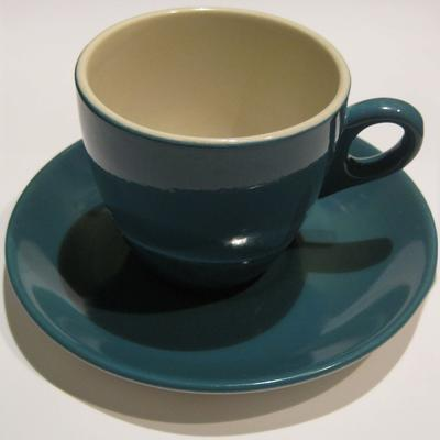 Teal Crown Lynn cup and saucer; 2011.35