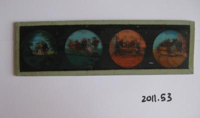 Coloured glass slide of children and animals