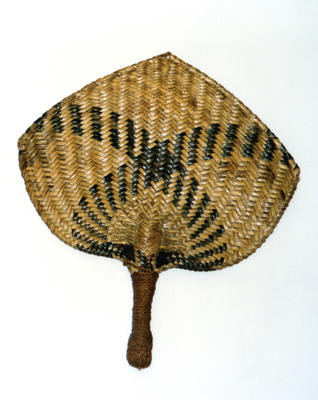 Woven pandanus fan, with two broad black bands.